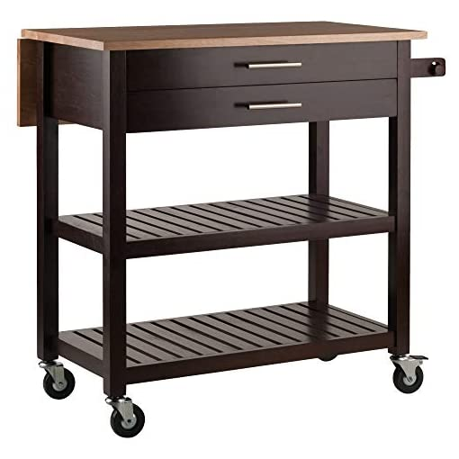 Farmhouse Kitchen Winsome Langdon Cart Kitchen, Cappuccino/Natural farmhouse kitchen islands and carts