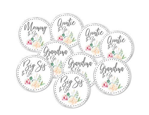 Baby Shower Mommy to Be Grandma, Big Sister, Aunt Button Favors Set of 9 (Mommy To Be Corsage For Baby Shower)