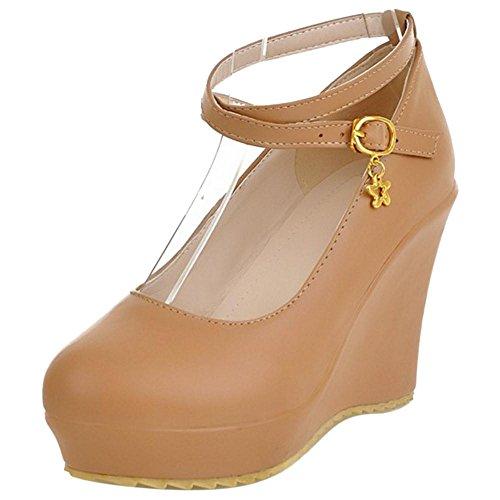 Coolcept Zapatos de Tacon Cuna Alto para Mujer Brown