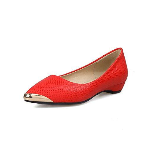ZQ Zapatos de mujer-Tac¨®n Robusto-Tacones-Tacones-Casual-PU-Negro / Rosa / Rojo , red-us6 / eu36 / uk4 / cn36 , red-us6 / eu36 / uk4 / cn36