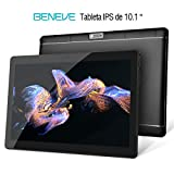 Beneve Tablet PC de 10 Pulgadas,Tab10 Inch 1280 * 800 Resolución,Android 7.0 Nougat,2GB+32GB,Dual sim 4G Panel de 10.1 HD IPS Pulgadas, Procesador MTK QuadCore WiFi PC (Negro)