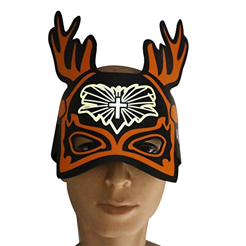 Sikye Christmas Sound Mask, Sound Activated Light Up Face Mask Reactive Rave Mask Glowing Party Dance Light Up Adjustable Mask Toy (B) -