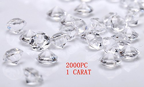 jollylife 2000 Diamond Table Confetti Wedding Bridal Shower Party Decorations 1 Carat/ 6.5mm Clear -