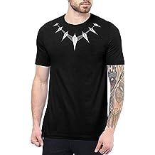 Decrum Black Panther T Shirts Merchandise Gift For Men Necklace Logo - Casual Superhero Tee Shirts