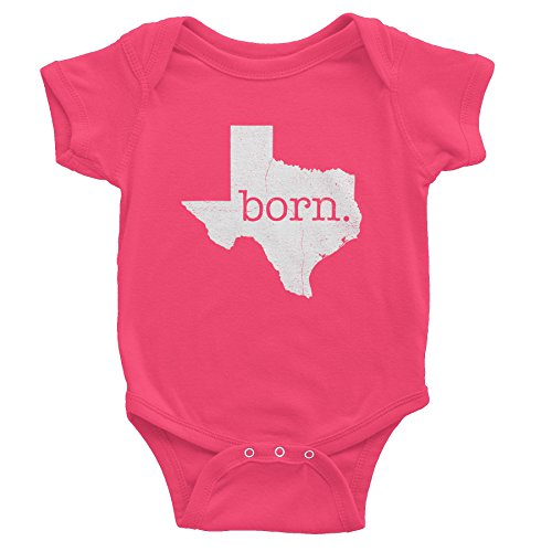 Texas Born - Texas State - Distressed Print  - Onesie Baby Gift T-shirt - Hot Pink Cotton Distressed Onesie