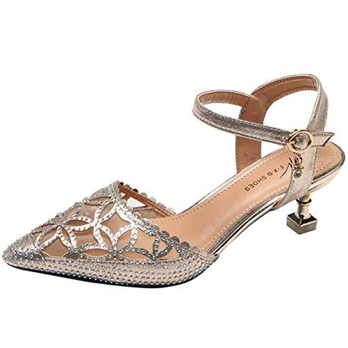 2 A Taille Talon Boucle Femmes Diamants Creux coloré Pour Sandales Gold A À Et Uk f1wvqxw7H