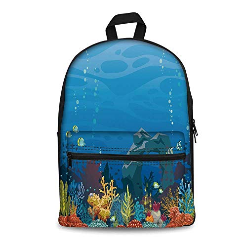 Aquarium Stylish Canvas School Bag,Colorful Coral Reef with Fishes and Stone Arch Under the Sea Natural Seascape Decorative for School Travel,11.4