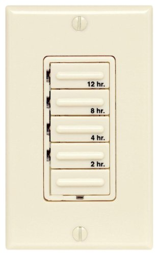 Leviton 6212H-I Decora 1000W/20A 1HP Four Preset 2-4-8-12 Hours Electronic Incandescent/Inductive Timer Switch, Single-Pole, Ivory - Decora Electronic