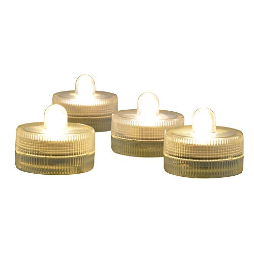 (Dingde Submersible LED Light CR 2032 Batteries Operated 3CM Decorative Lights Night Lights Waterproof Tea Lights for Wedding Party Holiday Centerpieces Decor,10-Pack (Warm White))