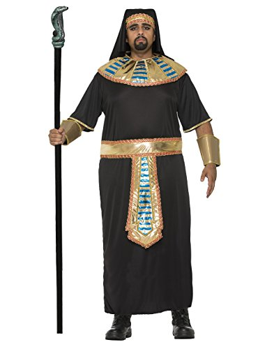 [Men's Egyptian Pharaoh Plus Size Costume Robe Roman King Tut Gold Black Adult XL] (Pharaoh Adult Mens Plus Size Costumes)