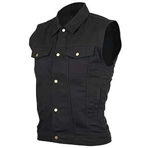 Mens Black Denim Jean Vest 2XL