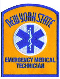 NEW YORK STATE EMERGENCY MEDICAL TECHNICIAN (Iron-On) - Summer Gold Twill - Paramedic EMT DEPT OF HEALTH NY State Department of Health - EMT E.M.T. Paramedic Patch Embroidered Badge - UNIFORM WORLD (Police Dept Patch)