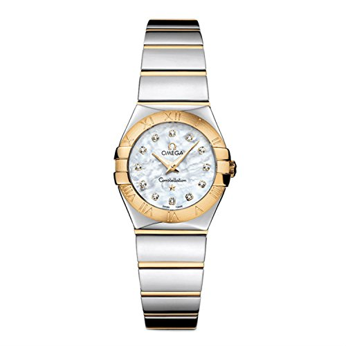 Omega Constellation Polished Quartz White Mother-of-Pearl Ladies Watch 12320246055004