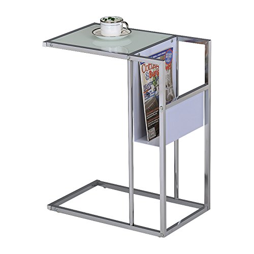 Pilaster Designs - Printed Glass & Chrome Accent Snack Table with Magazine Rack (White) by Pilaster Designs