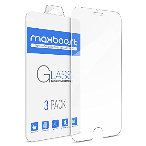 Price comparison product image [3Pack] Maxboost iPhone 6S Screen Protector [Tempered Glass 3D Touch Compatible] 0.2mm Ballistic Glass Fit iPhone 6 6S and Most Protective Case - Clear Glass