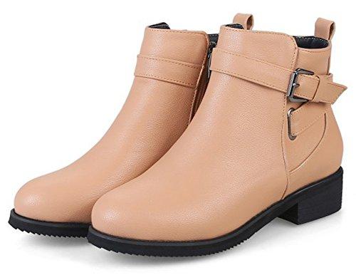 Stivaletti Alla Moda Con Fibbia Alla Caviglia Da Donna Con Tacco Basso E Albicocca