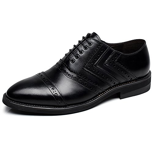 rismart Newly Men's Dress Leather Oxfords Shoes European Trendy Lace up Brogues Black SN16899 US12 by rismart