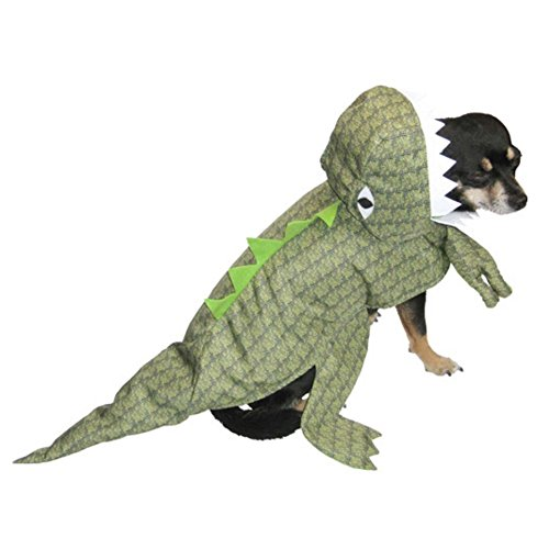 Dinosaur Dog Costume Plush Green T-Rex Pet Outfit