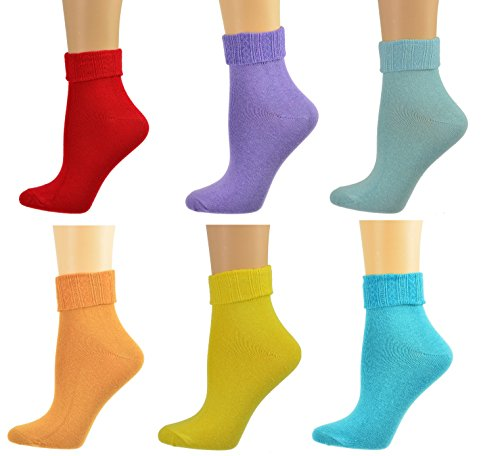Sierra Socks Women Triple Cuff Crew Cotton Colorful Socks 6 Pair Pack W6011 (Shoe Size: 6-10, Sock Size: 9-11, Burgundy, Lavender, Brown, Turquoise, Yellow, Blue)
