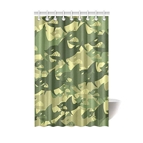Camouflaged Decorative Shower Curtain 100/% Polyester Earth Tones Durable