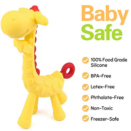 Baby Teether Toy - Tinabless Teething Pacifier Chew Rings for Babies, Infant and Toddler - Soft Silicone, BPA-Free, Natural Organic