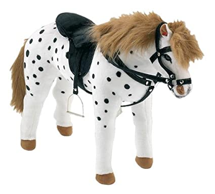 Happy People 58980 Dapple Grey Horse Standing with Saddle and Bridle White / Black by Happy