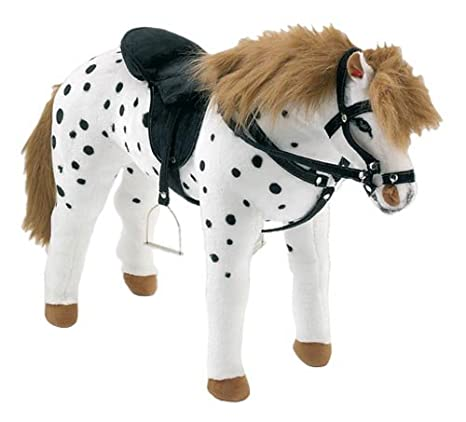 Happy People 58980 - Caballo con silla de montar y riendas (80 cm), color blanco y negro [importado de Alemania]