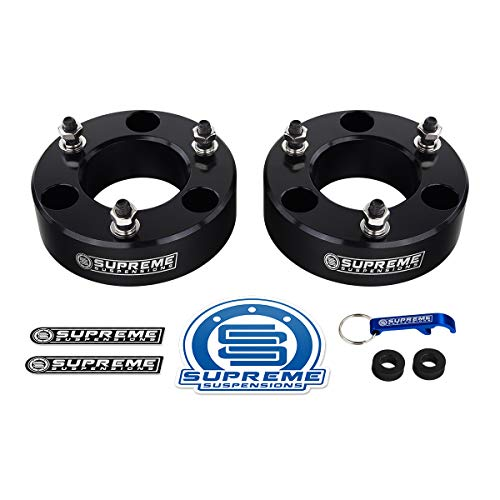 "Supreme Suspensions - Nissan Titan Leveling Kit 2"" Front Lift Aircraft Billet Strut Spacers (Black)"