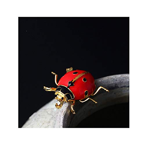 925 Sterling Silver Ladybug Brooch For Women Cute Insectos Brooches Badge Handmade,1