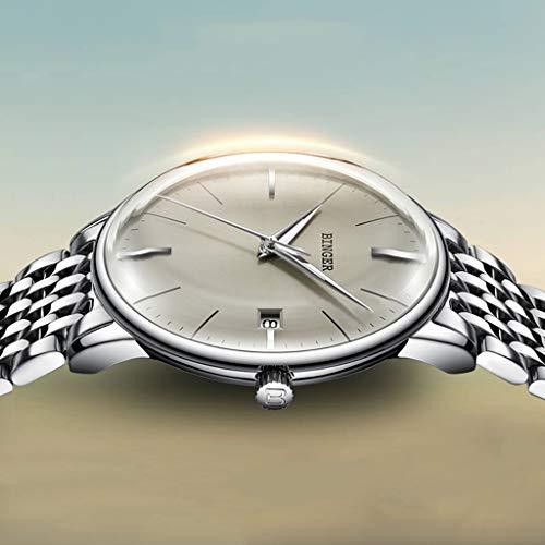 BINGER herrklockor, automatiska mekaniska klockor vattentät multifunktionell armbandsur ledig stil med kalenderfunktion 5078 M (färg: Steel Strap – Gray)