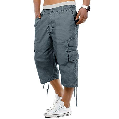 Men's Casual Elastic Waist Combat Loose Fit 3/4 Long Knee Length Cargo Shorts Pants (Asian Size:XXXL, Blue)