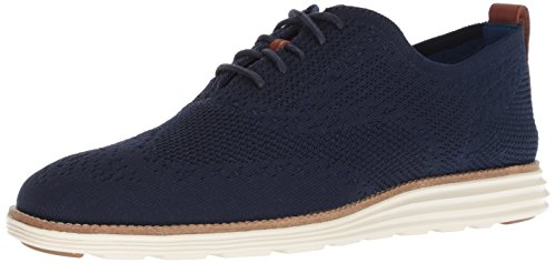 Cole Haan Men's Original Grand Knit Wing TIP II Sneaker, Navy/Ivory, 12 M US
