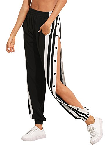 SOLY HUX Women's Sporty High Split Side Striped Joggers Snap Button Track Pants Black M