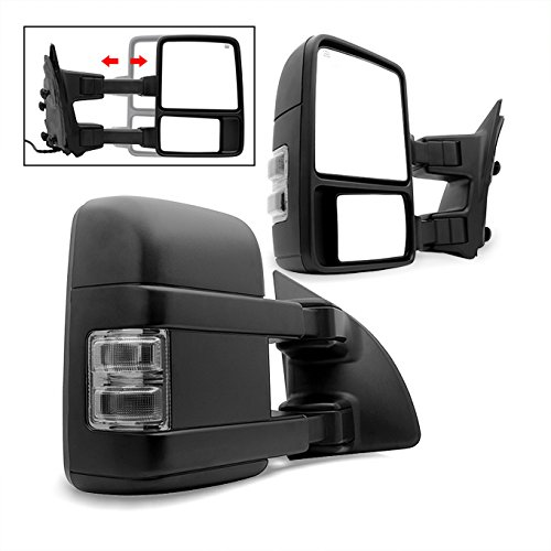 For 99-07 F250 F350 F450 SuperDuty Smoke Extendable Towing Power Telescoping Wide Angle Side Mirrors