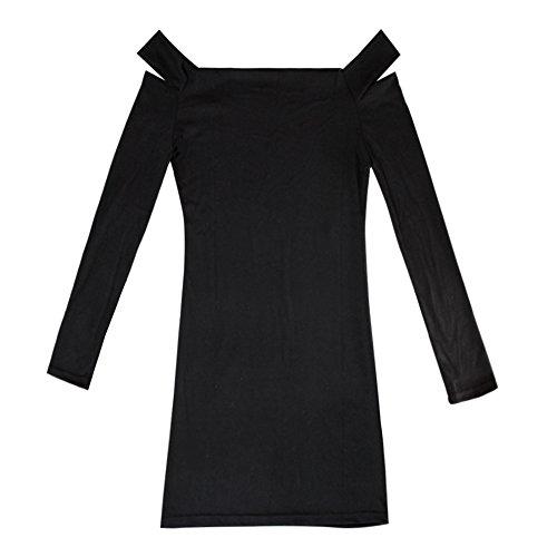 Slim Manches Bureau Sexy Noir Longues Mini Jardin Rv Tunique Pull Robe Femme F18OBqO