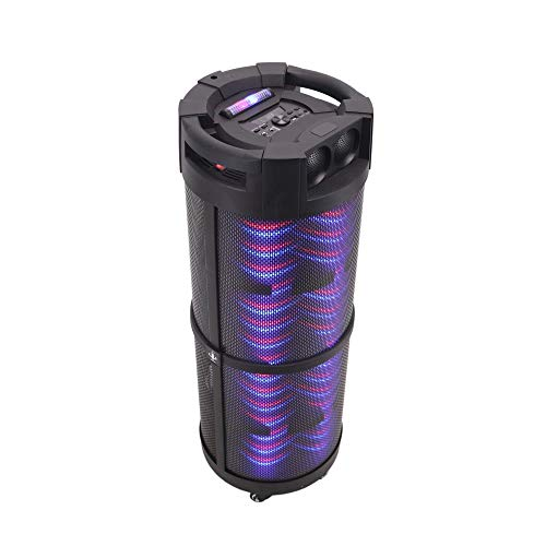 Bass 800w (Portable Boombox PA System Speaker - 800W Rechargeable Batteries, Wireless Bluetooth, LED Lights On Off Switch FM Radio USB/ MP3 Player, Aux, 1/4