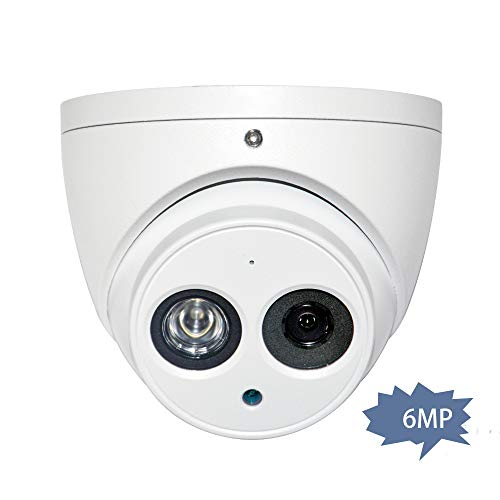 6MP Outdoor IP Dome POE Camera IPC-HDW4631C-A 2.8mm, 3072×2048, Turret Security Network Camera with Audio, Bulit in Mic, 164ft Night Vision, IP67 Weatherproof International Version