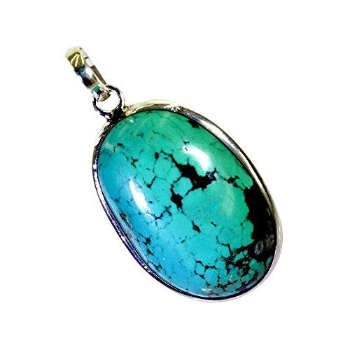 CaratYogi Genuine Turquoise Pendant 925 Sterling Sliver For Gift Handmade Blue Birthstone Neckalce ()
