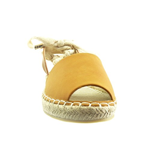 Angkorly - Chaussure Mode Espadrille Sandale ouverte femme corde noeud lacets Talon bloc 2 CM - Camel