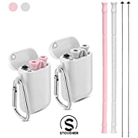 2 Sets Drinking Silicone Straws Collapsible Reusable With Carrying Case Cleaning Brush - BPA Free - Stovener