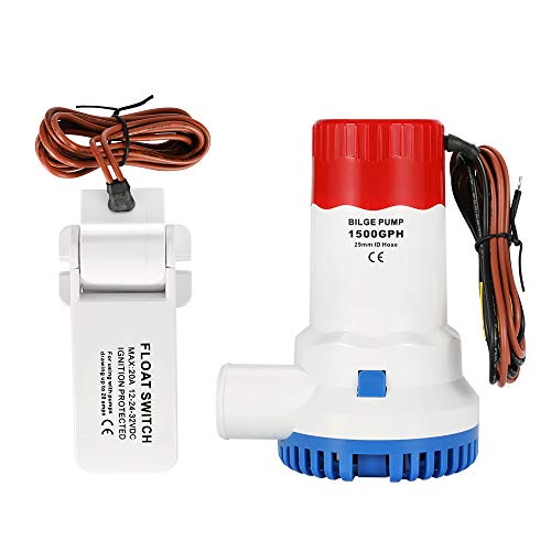 AIRTAK Bilge Pump for Boat DC12V 1500GPH Small Bilge Pump 12 Volt Electric Water Pump Low Noise with The Switch