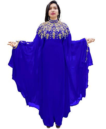 (African Boutique Dubai Kaftan Abaya Jalabiya Maxi Gown Hand Work Golden Beaded African Dress - Royal Blue )