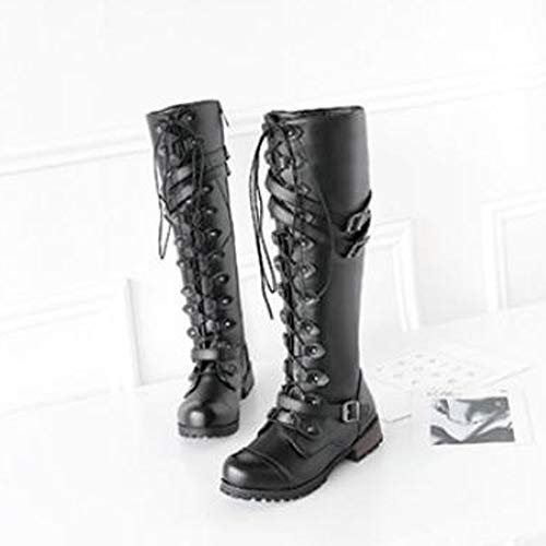 Lace Winter Steampunk Martin Casual Roman Black HLHN Classic Combat Boots Shoes Women Leather Flat Gothic Military up Vintage RxPXH