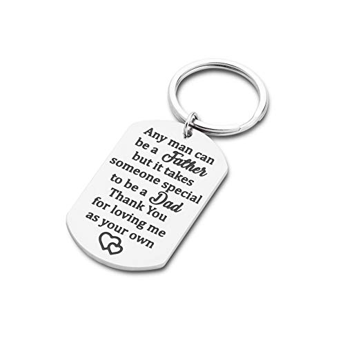 Step Fathers Day Gift Keychain for Dad from Daughter Son Any Man can be a Father in Law Personalized Keyring Birthday Christmas Wedding Gifts for Stepdad Men - Fathers Day Keychains