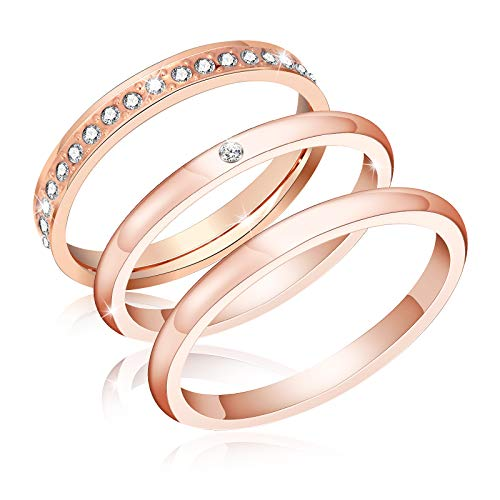 ivyAnan Jewellery 3Pcs 2mm Women's Stackable Eternity Ring Band Engagement Wedding Ring Sterling Silver Rings Set 5-9 (Rose Gold, 7) ()