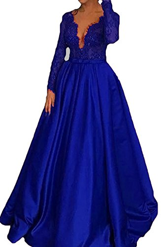 Bodice Formal Evening Long Prom Dresses Party Blue Lace Royal BessDress Line Gown BD467 Sleeves A 51FZcw