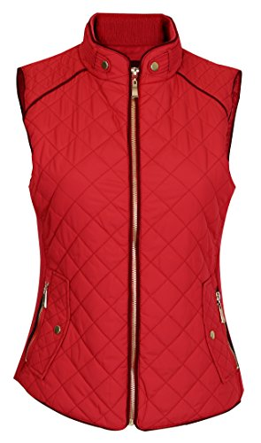 Pinmuse Women's Light Weight Zip up Front Quilted Padded Vest W Pockets Red 1XL