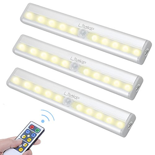 Litake Wireless Closet Light, Remote Control Under Cabinet Lighting, Battery Operated  Night Light Bars with Dimmer and Timer for Bedside, Closet, Cabinet, Shelf, Pack of 3 (15 Under Cabinet Lighting)