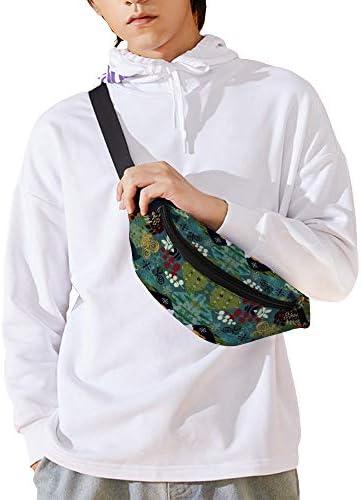 フェアアイルフォレストミディアムローテーション ウエストバッグ ショルダーバッグチェストバッグ ヒップバッグ 多機能 防水 軽量 スポーツアウトドアクロスボディバッグユニセックスピクニック小旅行