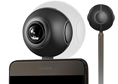 360 Camera for Android Smartphones, KANARS Smalleye Dual Lens Panoramic HD Cameras 3K - Black